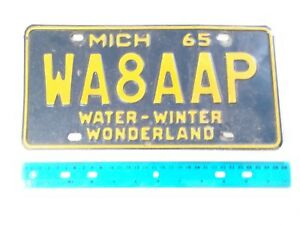 1965 Michigan AMATEUR HAM RADIO License Plate WA8AAP