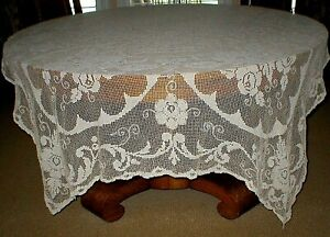 """VINTAGE HAND CROCHETED RECTANGLE TABLECLOTH, 57"""" X 74"""", IVORY, BEAUTIFUL!"""