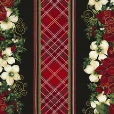 CHRISTMAS MORNING RED POINSETTIAS PLAID STRIPE FABRIC METALLIC NO. 13