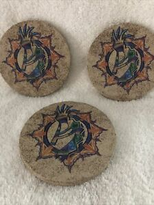 Thirstystone All Natural Sandstone Coasters Set of 3 Kokopelli Cork Backing