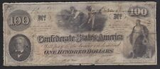 BANKNOTE CONFEDERATE STATES AMERICA $100 DOLLARS CIVAL WAR