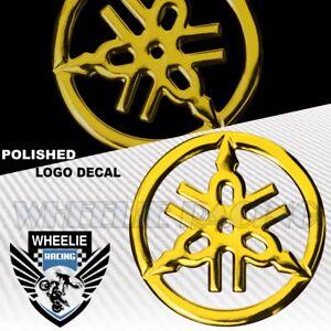 "1.5"" MOTO/BIKE 3D POLISH/SHINY ABS EMBLEM DECAL LOGO FENDER STICKER YAMAHA GOLD"