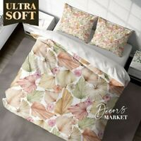 Leaves Roses Floral Leaves Brown Quilt Doona Cover Set Fine Breathable Cotton