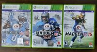 USED Madden Football 13 + 25 + 15 - Xbox 360 - Lot of 3 Bundle Free Shipping