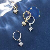 Damen Creolen mit Anhänger Stern echt Silber 925 Ohrringe Zirkonia Ohrhänger