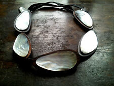 ARTISAN VINTAGE HUGE STATIONS MOTHER OF PEARL REDWOOD SETTING LEATHER NECKLACE