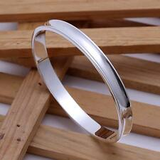 Fashion Jewelry Simple Channel 925 Sterling Silver Bracelet Cuff Bangle For Men