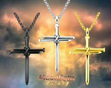 New Jesus Christ Nail Cross Spike Pendant Men Stainless Steel Necklace
