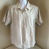 The North Face Men Button Front Beige Check Short Sleeve Shirt 100% Cotton Large