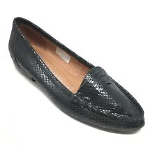 Women's Jeffrey Campbell Luxe Flats Loafers Shoe Sz 6.5M Black Leather Snake AB9