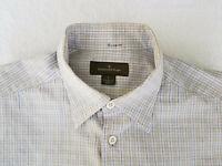 🔥 ERMENEGILDO ZEGNA  Mens Gingham Check Cotton Long Sleeve Shirt Size Large