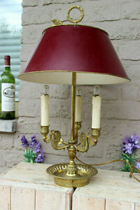 French empire bouillotte Bronze 3 swan arms table lamp metal shade 1950
