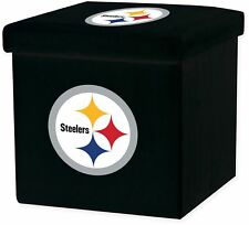 NFL Pittsburgh Steelers STORAGE OTTOMAN w Lid Square Seat Collapsible Organizer