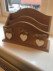 Wooden Letter Rack,Shabby Chic,Rustic,Brown & White Hearts,Country,Home Decor,VG