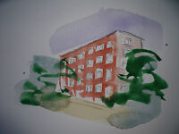 "RICHARD AHR 1929-2012 NEW YORK CITY "" STUYVESCENT STREET""  WATERCOLOR"