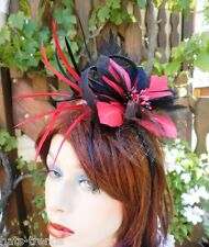 Tocado Facinator en negro / Rojo Boda Sombrero para eventos Ascot Festivo BAILE