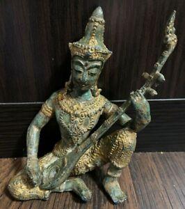 Vintage Thai Buddhist Prince Gilded Bronze Statue goddess saraswati playing bina
