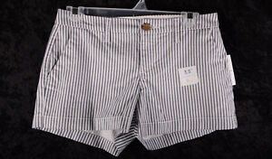 """Women's OLD NAVY Everyday Cotton Shorts 3.5"""" RAILROAD STRIPE 29"""" Size 0 ~NEW~"""