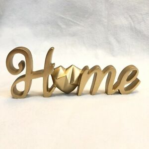 """""""Home"""" Word Sign Standing Cutout Script Lettering Jewel Heart Gold Home Decor"""