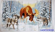 "New Finished completed Cross stitch""Elk fight with wolf�home decor Gifts"