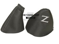 """FOR NISSAN 350Z 03-09 GEAR HANDBRAKE BOOT BLACK LEATHER GREY """"Z"""" EMBROIDERY"""