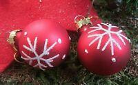★christbaum kugel ohrringe glas matt rot m schneeflocken vergoldete haken 3cm