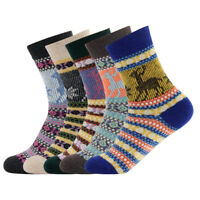 5Pairs Women's Vintage Style Winter Thick Knit Warm Casual Wool Crew Socks Men's