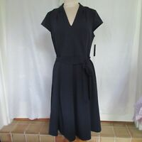 SHARAGANO NWT Cap Sleeve  Fit & Flare Dress - NEW SIZE 12 Navy w Tie Belt