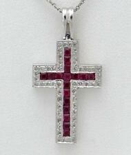 14k ORO BLANCO .83ct Corte Princesa Rubí & Diamante Redondo Caja CRUZ 3.1cm X
