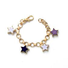 Bracelet Doré Charms Etoile Multicolore Blanc Noir Violet Simple CT 7