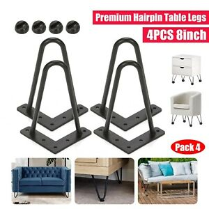 """SET OF 4 INDUSTRIAL HAIRPIN DINING COFFEE TABLE LEGS STOOL DESK 2 ROD 8"""""""
