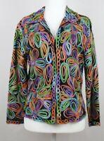 Casual Studio Womens Blazer Jacket Multicolor Black Floral Embellished Sheer M