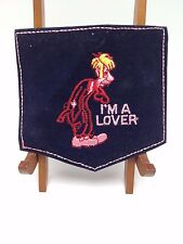 I'm a lover Embroidered vintage Patch pocket velvet man comic cartoon