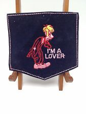 I'm a lover Patch Embroidered vintage pocket velvet man cartoon 1970s Hippie