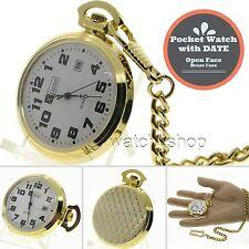 Gold Antique Men with DATE Quartz Pocket Watch Gift Brass Case + Fob Chain P31