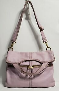 Fossil Erin Lilac Purple Leather Foldover Handbag Crossbody Purse