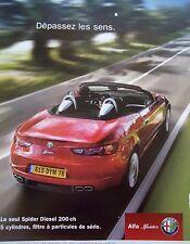 page  de publicité VOITURE  ALFA ROMEO SPIDER      en 2007     N° 46170