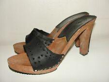 Vintage 70'S Boho Disco Black Leather& Faux Wood Platform Mules Slide Heels*38 7
