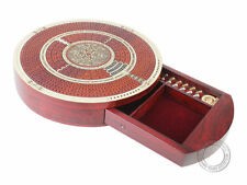 Round Shape 4 Tracks Continuous Cribbage Board Maple / Bloodwood Push Drawer