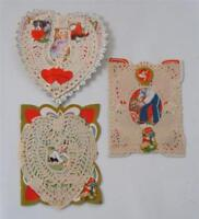 Vintage Dresden Lace Valentine Card Lot of 3 Kids scrap Art Deco Hinged 20's