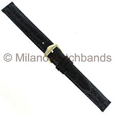 12mm Hirsch Tornado Genuine Leather Black Padded Stitched Textured Watch Band