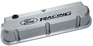 "Proform 302-138 ""Ford Racing"" Die-Cast Valve Covers, Slant-Edge, Polished"