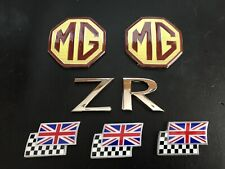 MG ZR mk1 Overlay Badge Set, rear & 3 chequerred and union jack flags ZR Letters