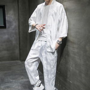 Mens Silk Chinese Style 2PCS Kimino Size Plus Coats Straight Pants Slim Fit Tops