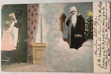 1903 Santa Girls on Telephone Postcard Bruxelles Belgium Christmas