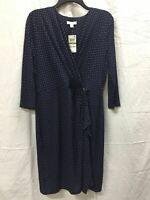 Charter Club Knit 3/4 Sleeve Dot Crossover Dress Blue PL