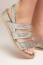 Coclico SHOES Koi Micro-Wedge Sandals Anthropologie SILVER LEATHER $378 NEW 39.5