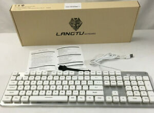 LANGTU Membrane Gaming Keyboard, Rainbow LED Backlit White/Silver