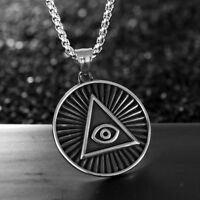 Stainless Steel All Seeing Eye of Providence Pyramid Pendant Amulet Necklace