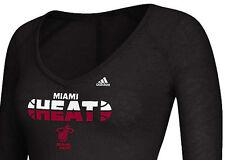 Adidas NBA Miami Heat Women V-neck Top Size Large Long Sleeve Tee Burnout Fabric